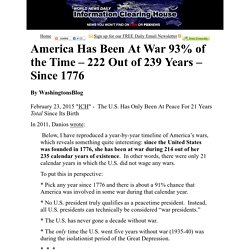 America Has Been At War 93% of the Time – 222 Out of 239 Years – Since 1776