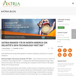 Axtria Ranked 178 in North America on Deloitte's 2016 Technology Fast 500™