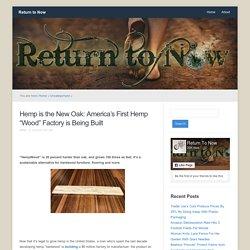 "Hemp is the New Oak: America's First Hemp ""Wood"" Factory is Being Built"