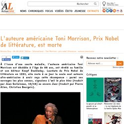 L'auteure américaine Toni Morrison, Prix Nobel de littérature, est morte