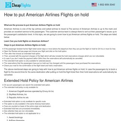 How to put American Airlines Flights on hold