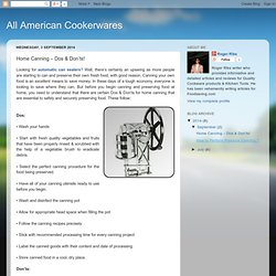All American Cookerwares: Home Canning – Dos & Don'ts!