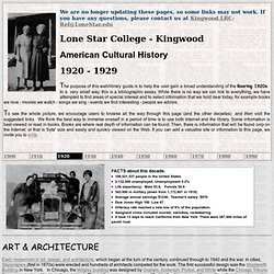 American Cultural History - Decade 1920-1929