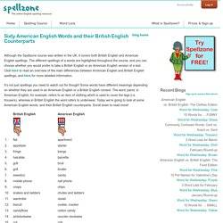Sixty American English Words and their British English Counterparts