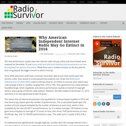 Why American Independent Internet Radio May Go Extinct in 2016 - Radio Survivor