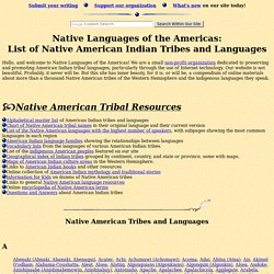 American Indian Tribal List: Native American Tribes and Languages
