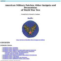 American Military Patches, Other Insignia and Decorations of World War Two