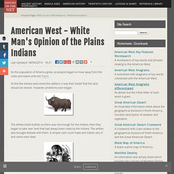 American West - White Man's Opinion of the Plains Indians