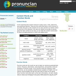 American English Pronunciation Lesson: Content Words and Function Words