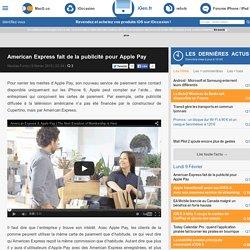 American Express fait de la publicité pour Apple Pay