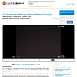 African-American History (Stanford) Video Lecture, Stanford
