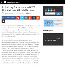 So looking for movers in NYC? This one is must read for you