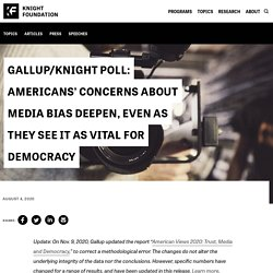 Gallup/Knight Poll: Americans' concerns about media bias deepen, even as they see it as vital for democracy – Knight Foundation
