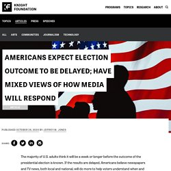 Americans expect election outcome to be delayed; have mixed views of how media will respond – Knight Foundation