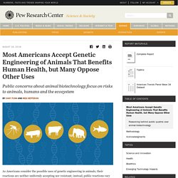 PEW RESEARCH CENTER 16/08/18 Most Americans Accept Genetic Engineering of Animals That Benefits Human Health, but Many Oppose Other Uses