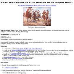 State of Affairs Between the Native Americans and the European Settlers