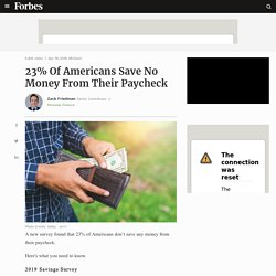 23% Of Americans Save No Money From Their Paycheck