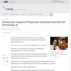 Americans Support Physician-Assisted Suicide For Terminally Ill