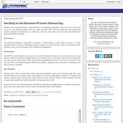 Deciding to Use Business Process Outsourcing