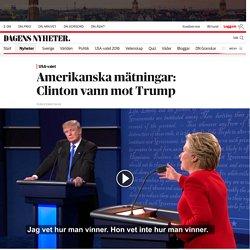 Amerikanska mätningar: Clinton vann mot Trump