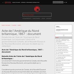 Acte de l'Amérique du Nord britannique, 1867 : document