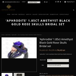 1.85ct Amethyst Black Gold Rose Skulls Bridal Set
