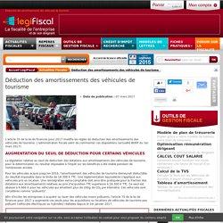 Déduction des amortissements des véhicules de tourisme