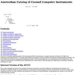 Amsterdam Catalog of Csound Computer Instruments