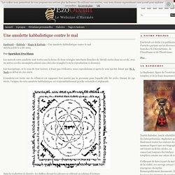 Une amulette kabbalistique contre le mal « Magie & Kabbale « Kabbale