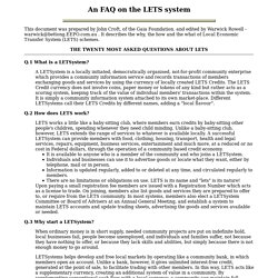An FAQ on the LETS system