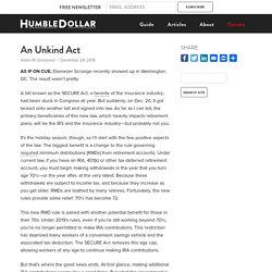 SECURE Act - HumbleDollar