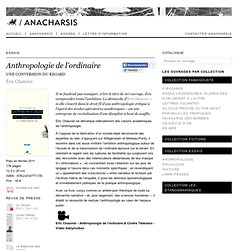 Anthropologie de l'ordinaire