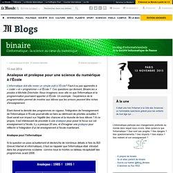 Analepse et prolepse pour une science du numérique à l'École
