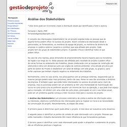 Análise dos Stakeholders - Gestão de Projeto