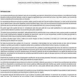 TEMA: ANÁLISIS DE LA PRÁCTICA DOCENTE, UN PRIMER ACERCAMIENTO