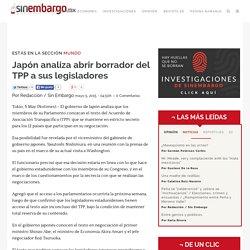 Japón analiza abrir borrador del TPP a sus legisladores