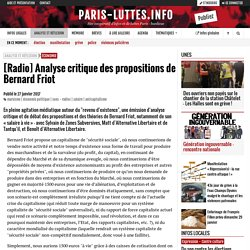 [Radio] Analyse critique des propositions de Bernard Friot