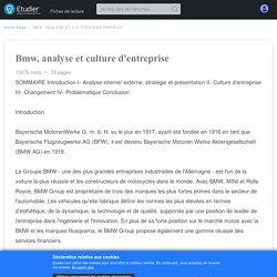 Bmw, analyse et culture d'entreprise - 13476 Mots
