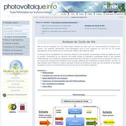 Analyse du Cycle de Vie du photovoltaïque