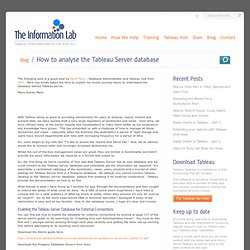 How to analyse the Tableau Server database - The Information Lab