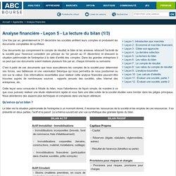 Analyse financière - Leçon 5 - La lecture du bilan (1/3)