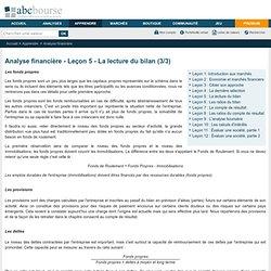 Analyse financière - Leçon 5 - La lecture du bilan (3/3)