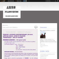 Fiche analyse de GUERNICA - Le blog des Arts Plastiques du college Barbot