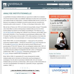ANALYSE INSTITUTIONNELLE
