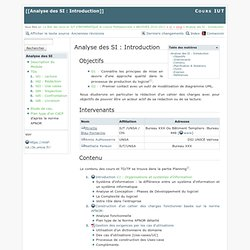 Analyse des SI : Introduction [Cours IUT]