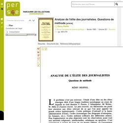 Analyse de l'élite des journalistes. Questions de méthode