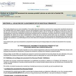 Analyse de la phase de lancement du nouveau produit Laicran au sein de la Camlait SA - Christel KAMANI