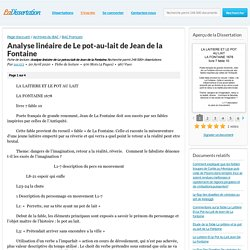 Analyse linéaire de Le pot-au-lait de Jean de la Fontaine - Fiche de lecture - zac123