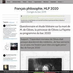 Analyse littéraire - mort de M. de Clèves la Fayette EAF 220
