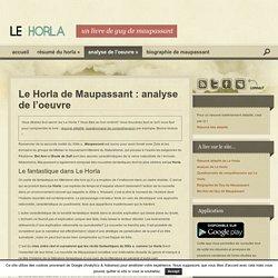 Analyse du livre Le Horla de Guy de Maupassant
